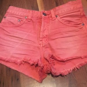 Free People Distressed Cut Offs Shorts 25 Salmon